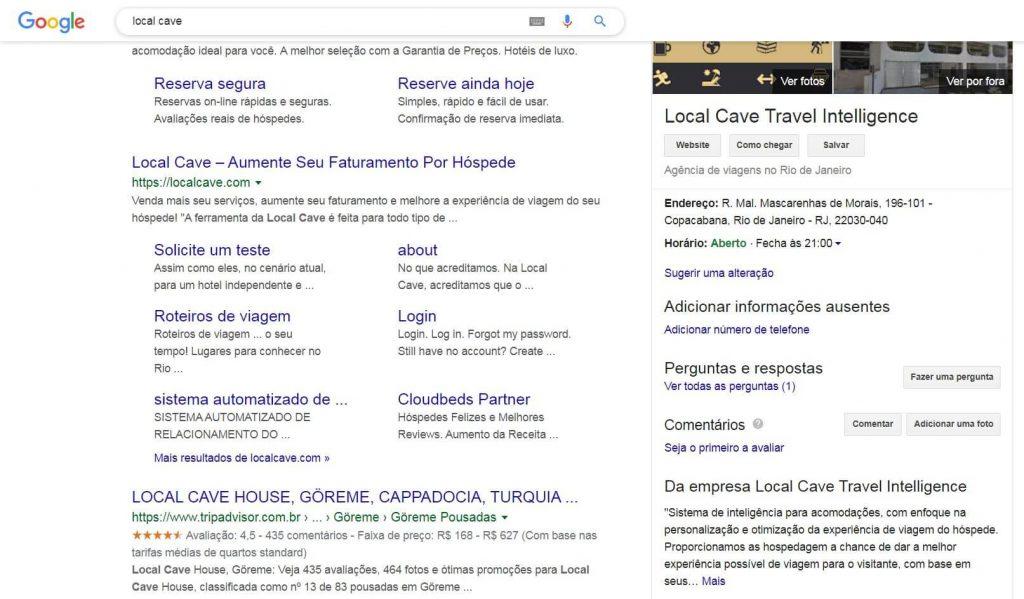 A página de busca do google com os resultados